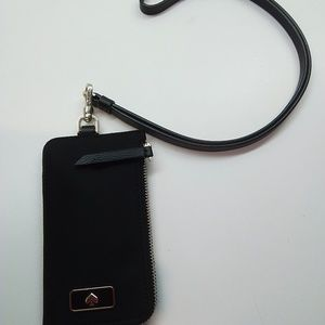"KateSpadeNew""Dawn"" Leather Black Card Case Lanyard"